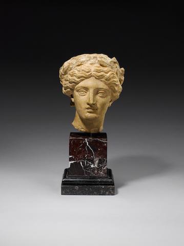 A Roman limestone head of Fulvia