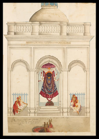 A Baptist Minister's scrapbook, containing a collection of four Mughal miniatures (damaged), seven Calcutta watercolours, and a miscellany of European engravings (17th-18th C), some relating to Indian customs, in addition to portraits of priests and other Church figures, as well as views of English monuments mid-19th Century