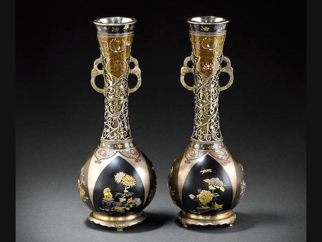 Pair of mixed metal vases by Yamada Motonobu