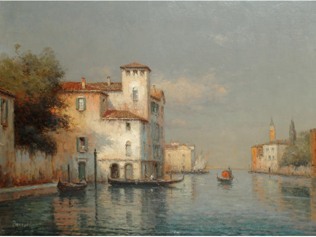 Noel Georges Bouvard (French, 1912-1975) On a Venetian canal