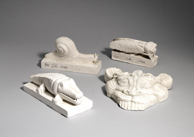 Sir Eduardo Paolozzi (British, 1924-2005) Locust Plaster cast, 1994, signed, dated and inscribed 'For John' in pencil, from an edition of an unknown size, 80mm (3 1/8in)(high) Together with a plaster cast of a 'Chinese mask' also signed (2)