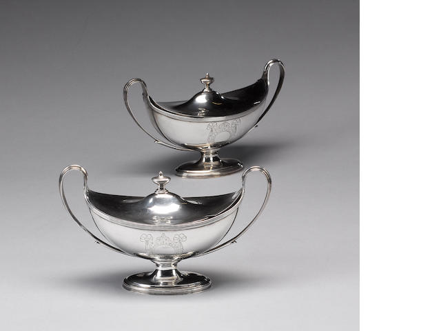 A pair of George III silver two handled sauce tureens, by Henry Chawner, London 1790,