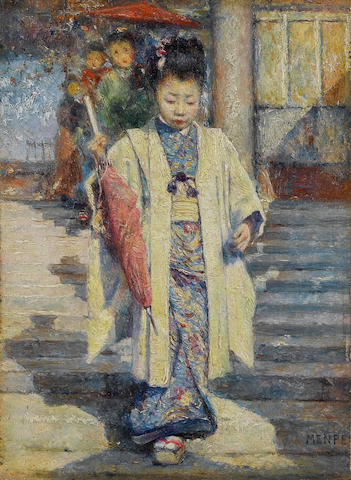 Mortimer Luddington Menpes (British, 1855-1938) A geisha 10.8 x 8 cm. (4¼ x 3¼ in.)