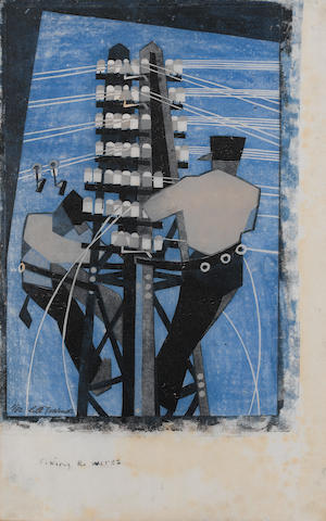 Lill Tschudi (Swiss, 1911-2001) Fixing the Wires Linocut, 1932, a good bright impression, printed in