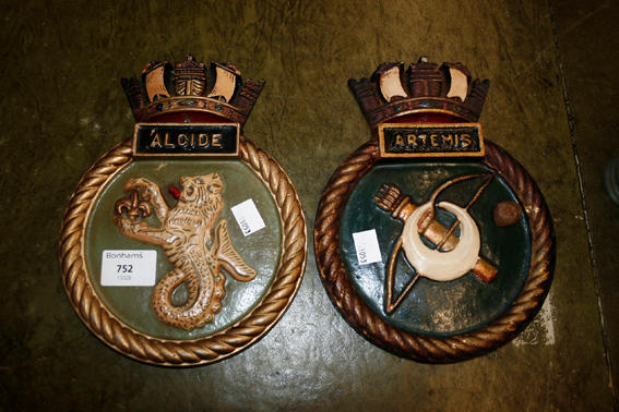 Two cast metal ship's plaques
