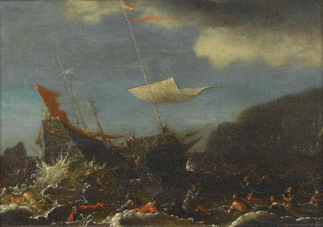 Circle of Agostino Buonamico, called Agostino Tassi (Perugia circa 1579-1644 Rome) Saint Paul shipwrecked off the Island of Malta 26.7 x 40.5 cm. (10½ x 16 in.)