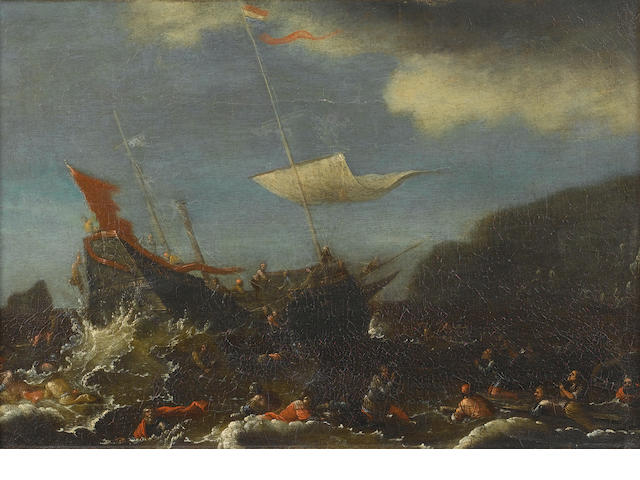 Follower of Cornelis de Wael (Antwerp 1592-1667 Rome) Saint Paul shipwrecked off the Island of Malta