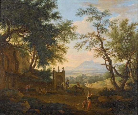 Jakob de Heusch (Utrecht 1657-1701 Amsterdam) A wooded landscape 40.7 x 49 cm. (16 x 19¼ in.)