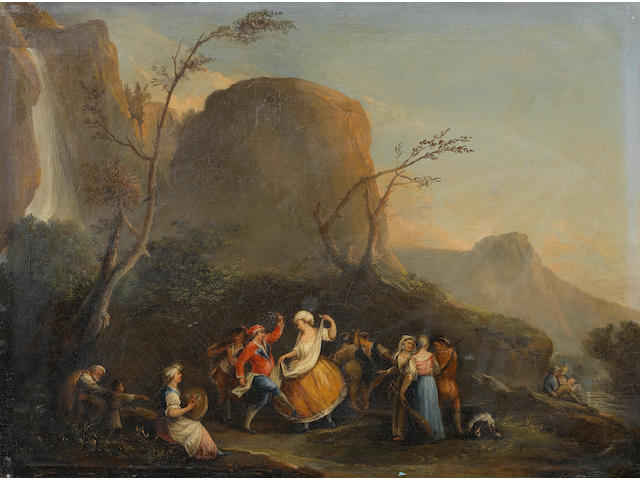 Follower of Pietro Fabris (Naples circa 1740-1792) Figures dancing besides a river under a waterfall; and Peasants merrymaking in an inn the former 76.8 x 102 cm. (30¼ x 40 1/8 in), the latter  75.8 x 102.9 cm. (29 7/8 x 40½ in) (2)