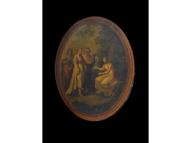 Circle of Kauffmann, Set of 4 oval paintings from a decorative scheme, with integral frames