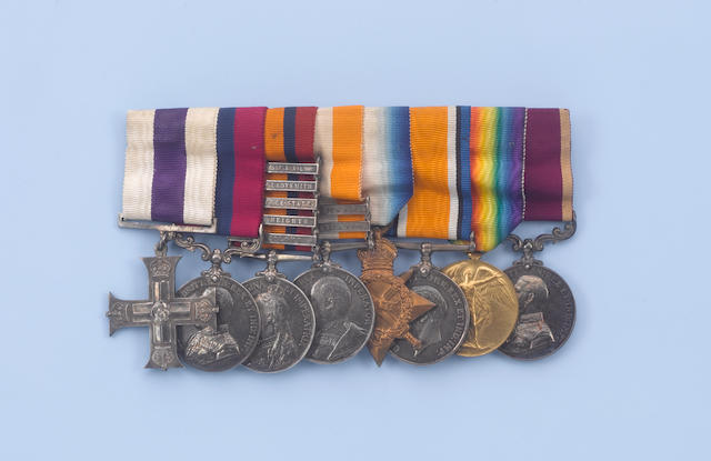 A Boar war/WW1 medal group, miniatures, a silver cup for shooting, three photos, housed within a walnut box