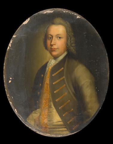 Circle of Joseph Highmore (London 1692-1780 Canterbury) Portrait of a gentleman, said to be William Hyatt (1727-1759), 77.4 x 64.7 cm. (30½ x 25½ in.) unframed
