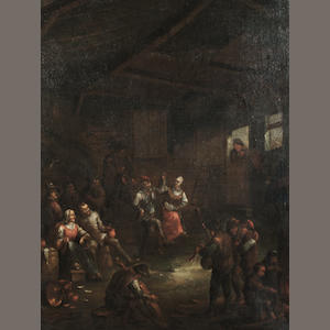Circle of David Teniers the Younger (Antwerp 1610-1690 Brussels) Peasants merrymaking in a barn 65 x 49.4 cm. (25½ x 19 3/8 in.)