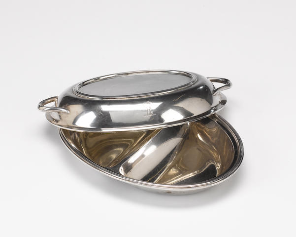 A silver oval entree dish and cover, script maker's mark RWB, Sheffield 1938,