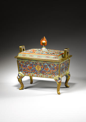 An important and extremely rare cloisonné enamel rectangular censer and cover, fangding Wanli six-character mark and of the period
