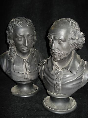 Two Wedgwood black basalt portrait busts of Shakespeare and Milton Early 19th Century
