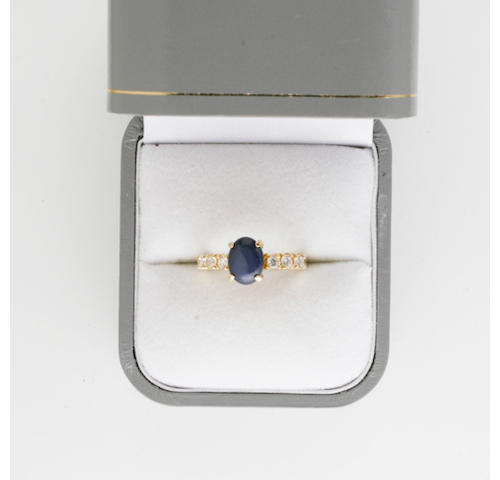 A star sapphire and white stone ring, (2)