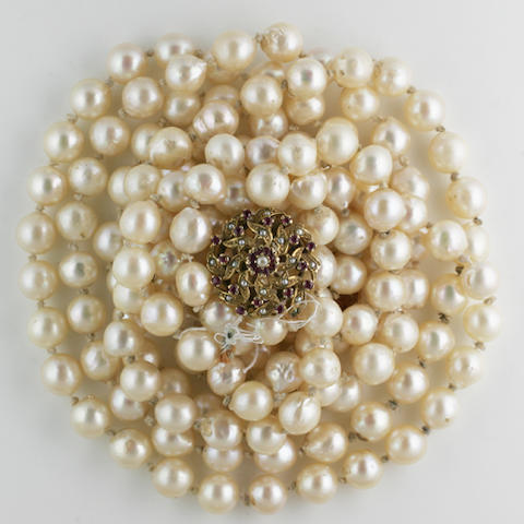 A long two row cultured pearl necklace