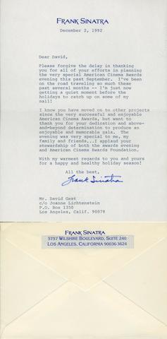 A Frank Sinatra signed letter, dated December 2, 1992, 2