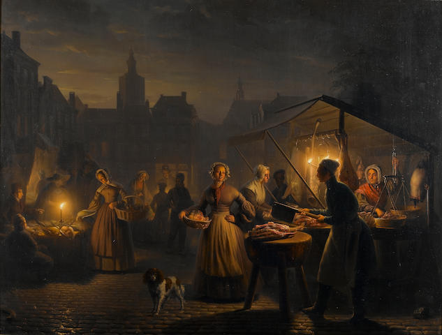 Petrus van Schendel (Belgian, 1806-1870) The Main Square in The Hague in the evening 65 x 85 cm. (25 1/2 x 33 1/2 in.)