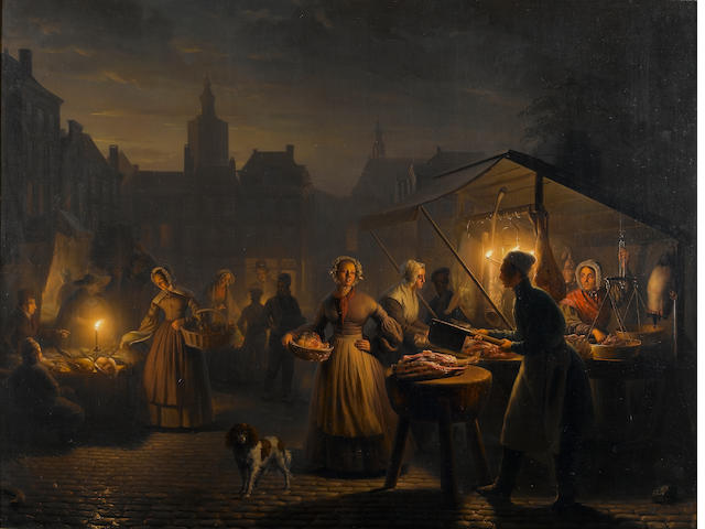 Petrus van Schendel (Belgian, 1806-1870) The Main Square in The Hague in the evening 65 x 85 cm. (25