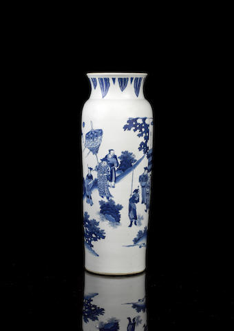 A fine and large Transitional blue and white sleeve vase Circa 1640