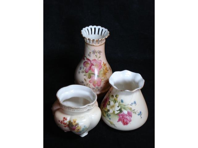 Three small Royal Worcester blush ivory vases Dated 1899, 1906 and 1917