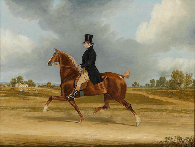 James Pollard (British, 1792-1867) Cropped and Nicked: Richard Smith, farrier to Meux's Brewery, crossing Barnersbury on his hackney 38 x 51 cm. (15 x 20 in.)