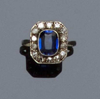 A synthetic sapphire and diamond cluster ring,