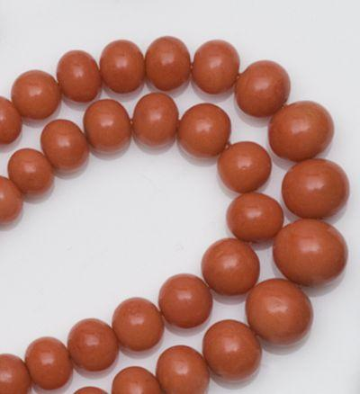 A two row graduated coral bead necklace