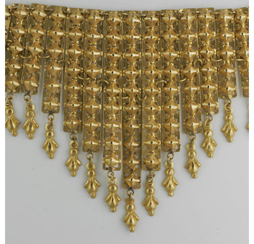 An Eastern fringe necklace, bangle and earpendants