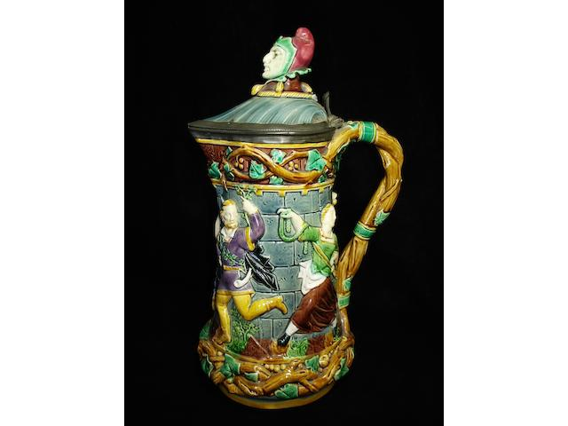 A Minton Majolica 'Tower' flagon, dated 1871