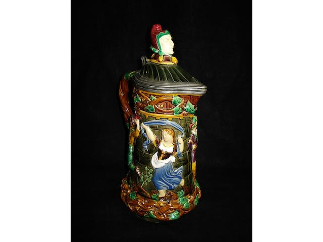 A Minton Majolica 'Tower' flagon, dated 1881