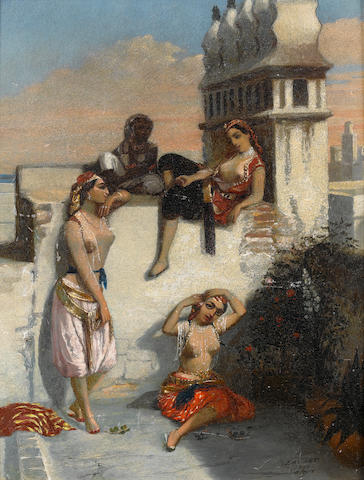 Emmanuel Joseph Lauret (French, 1809-1882) On a terrace in Algiers 35.5 x 32.5 cm. (14 x 12 3/4 in.)