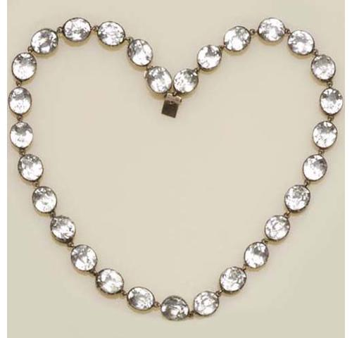 A late 19th century white paste rivière necklace (2)