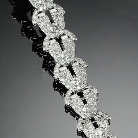An art deco diamond bracelet, by Cartier,