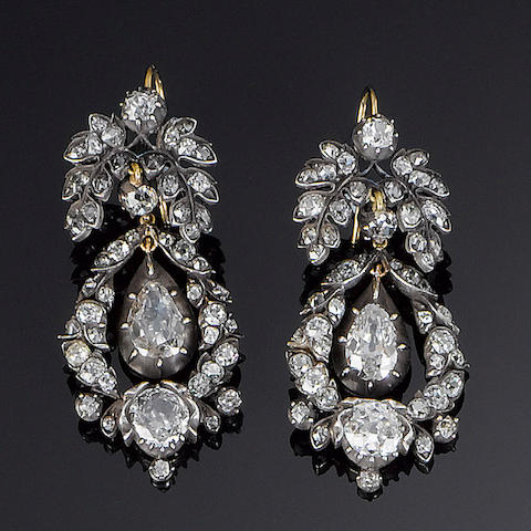 A pair of 19th century diamond pendent earrings