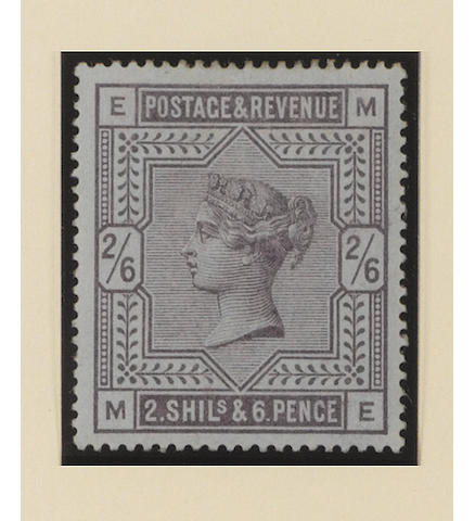 "1883-84 wmk. Anchor on white paper: 2/6 deep lilac on blued paper ME, from ""white paper"" period (SG 179a), part o.g., corner crease at lower-left, fresh. B.P.A. Certificate (1992). SG £7,000."