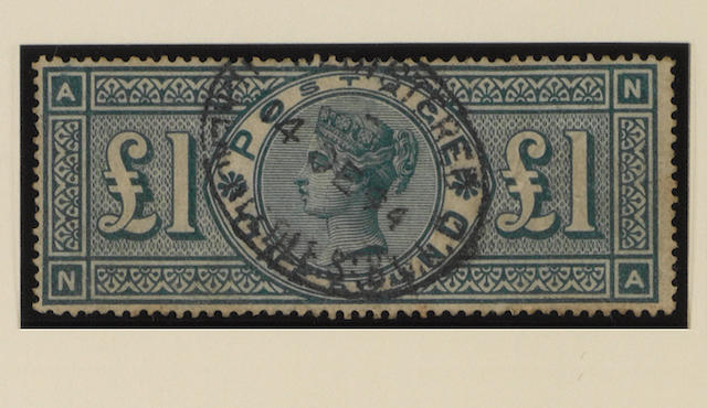 1887-1900 Jubilee: £1 green DB and NA used.