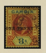 Gambia: 1906 1d. on 3/- variety surcharge double, used with registered cancel, a little light staining at top, some perfs. a little blunted but very scarce, B.P.A. Certificate (2003). SG 70a, £5,000. (456)