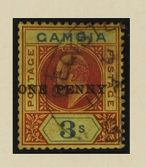 Gambia: 1906 1d. on 3/- variety surcharge double, used with registered cancel, a little light staining at top, some perfs. a little blunted but very scarce, B.P.A. Certificate (2003). SG 70a, £5,000. (700)