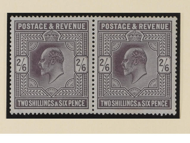 1902-13 K.E.VII: 2/6 mint pair, one with a few small adhesions, other fine, fresh.