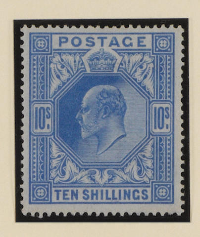 1902-13 K.E.VII: 2/6 (2, inc. chalky paper), 5/- and 10/- mint, mainly fine.