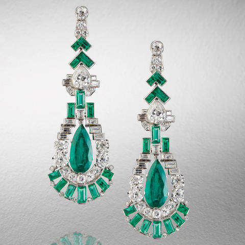 A fine pair of art deco emerald and diamond pendent earrings,