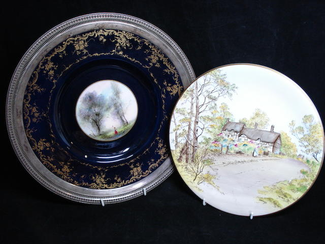A Royal Worcester silver mounted plate by George M Evans
