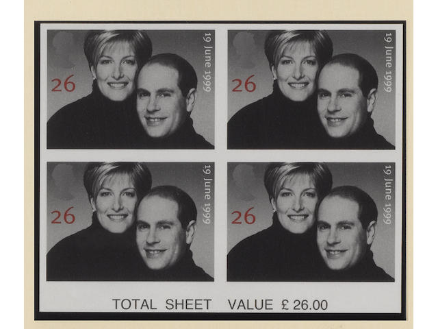 1999 Royal Wedding 26p. variety imperf. in a bottom of sheet marginal block with sheet value, a couple of light gum bends otherwise fine unmounted mint. SG £3,000 .