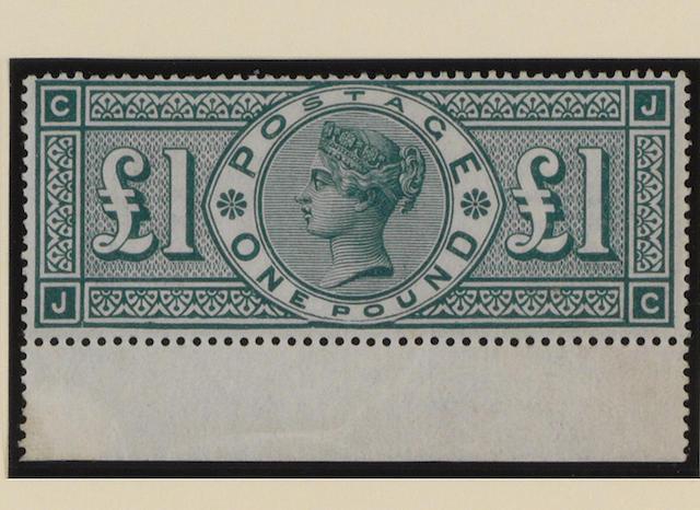 1887-1900 Jubilee: £1 green JC with broken frame, unmounted mint with margin (with adhesion) at foot, a couple of gum wrinkles and tiny thin otherwise fine and very fresh. SG £11,000.