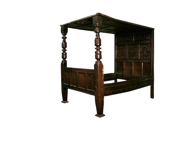 A late 17th Century oak tester bed