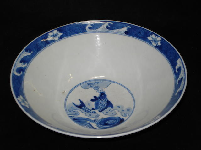 A Chinese blue and white dragon bowl, Chenghua mark but probably later