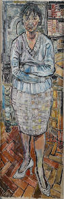 John Bratby R.A. (British, 1928-1992) Portrait of Gloria 183 x 61 cm. (72 x 24 in.)